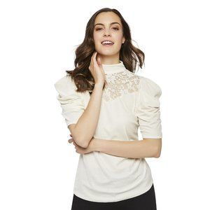 George Women's Velvet Lace Puff Sleeve Blouse